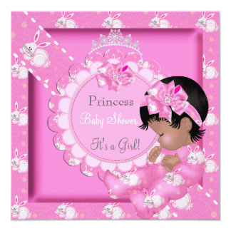 """Princess Girl Baby Shower African Amercian Bunnies 5.25"""" Square Invitation Card"""