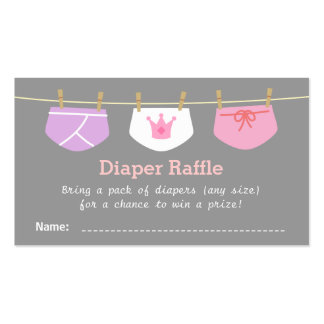 Princess Girl Baby Shower, Diaper Raffle Tickets Pack Of Standard Business Cards