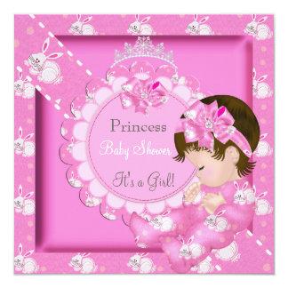 Princess Girl Baby Shower Pink Cute Bunnies 13 Cm X 13 Cm Square Invitation Card