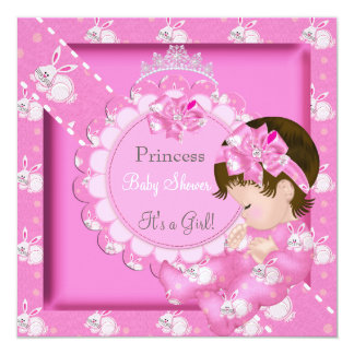 Princess Girl Baby Shower Pink Cute Bunnies Card