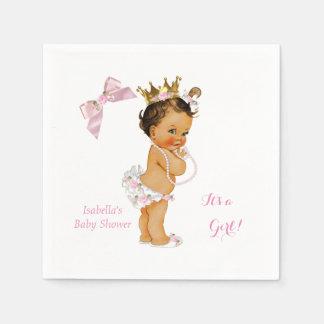 Princess Girl Baby Shower Pink Gold Crown Brunette Paper Napkin