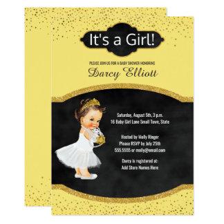 Princess Girl Baby Shower | Sunny Yellow Glitter Card