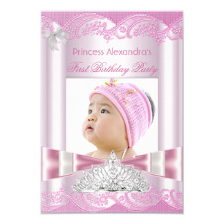 Princess Girl First Birthday 1st Party 9 Cm X 13 Cm Invitation Card