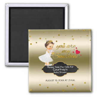 Princess Gold Baby Shower Save the Date | Sunshine Magnet