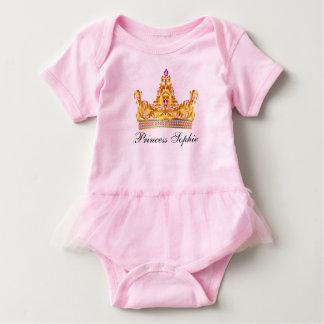 Princess Gold Tiara Pink Baby Girl Tutu Onsie Baby Bodysuit