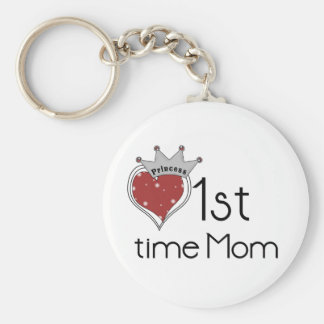Princess Heart 1st Time Mom Tshirts and Gifts Basic Round Button Key Ring