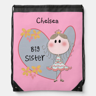 Princess Heart Big Sister Drawstring Bag