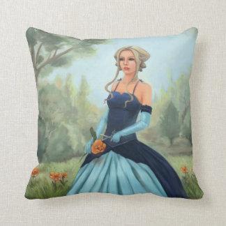 Princess in Blue Dress - Fairy Tale Art Throw Cushion