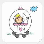 Princess in Carriage Square Sticker
