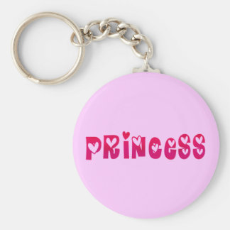 Princess in Hearts Basic Round Button Key Ring