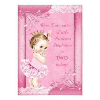 Princess in Tutu Baby 2nd Birthday Faux Lace 13 Cm X 18 Cm Invitation Card