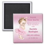 Princess in Tutu Baby Shower Save the Date Pink Square Magnet