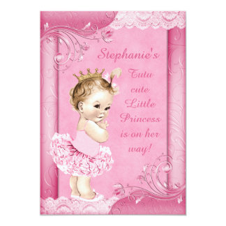 Princess in Tutu Faux Lace Baby Shower 13 Cm X 18 Cm Invitation Card