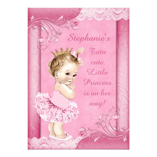 Princess in Tutu Faux Lace Baby Shower Announcement