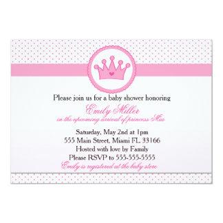 Princess Invitation Baby Girl Shower Pink Crown