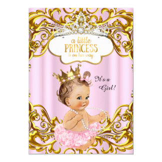Princess is on her way Baby Shower Pink Brunette 13 Cm X 18 Cm Invitation Card