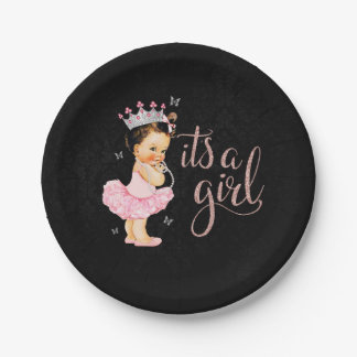 Princess It's a Girl Baby Shower plates 7 Inch Paper Plate