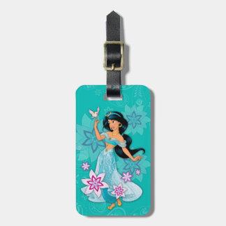 Princess Jasmine with Bird Floral Luggage Tag