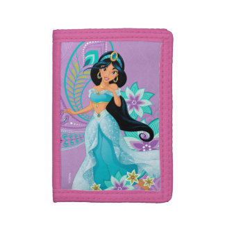 Princess Jasmine with Feathers & Flowers Trifold Wallet
