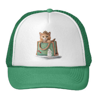 Princess Kitten in Bag with Mouse & Magazine Trucker Hats