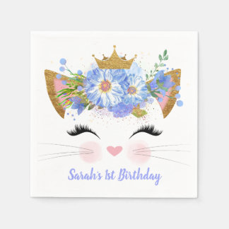 Princess Kitty Babys First Birthday Paper Napkins Disposable Serviette