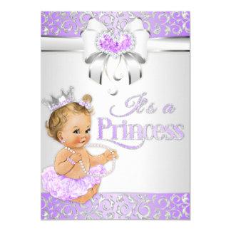 Princess Lavender Lilac & Silver Diamonds Bow Card