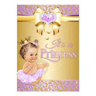 Princess Lilac & Gold Diamonds Heart Vintage Baby Card