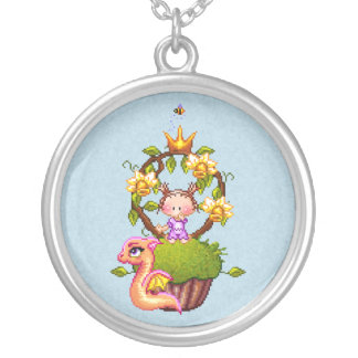 Princess Muffin Round Pendant Necklace