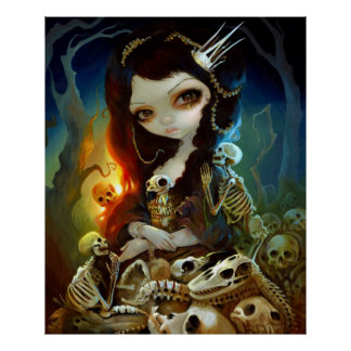 Princess of Bones ART PRINT Lowbrow Art Skeleton