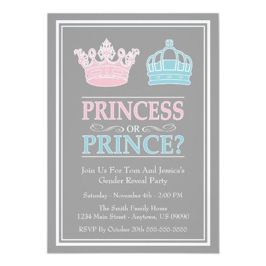 Princess Or Prince Gender Reveal Party Invitations Zazzle Com Au