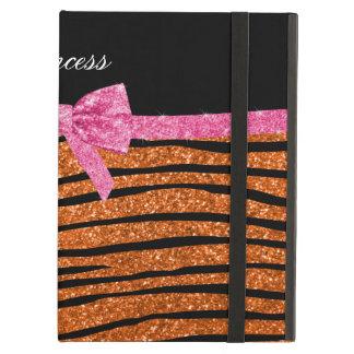 Princess orange glitter zebra stripes pink bow iPad covers