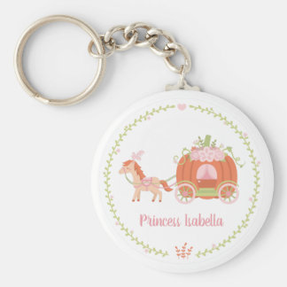 Princess Orange Pumpkin Carriage Girl Keychain