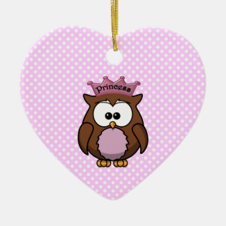 Princess owl Double-Sided heart ceramic christmas ornament