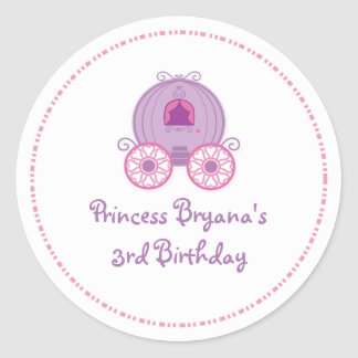Princess Party Carriage Birthday Favor Sticker