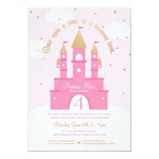 Princess Party Invitations | Pink & Gold Castle