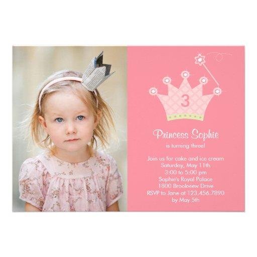 Princess Party Photo Birthday Invitation Custom Invitations