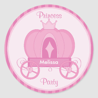 Princess Party Pink Pumpkin Coach Sticker