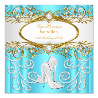 Princess Party Teal Gold White Pearl High Heels 13 Cm X 13 Cm Square Invitation Card