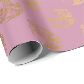 Princess Pastel Pink Rose Gold Dragon Fenix Wrapping Paper