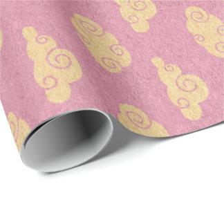 Princess Pastel Pink Rose Rock Clouds Wrapping Paper