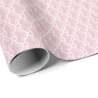 Princess Pastel Pink Rose Seashells White Wrapping Paper