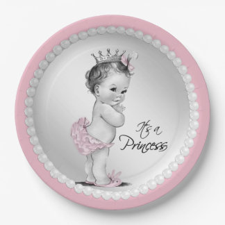 Princess Pearl Baby Shower 9 Inch Paper Plate