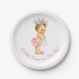 Princess Pearls Baby Shower 7 Inch Paper Plate