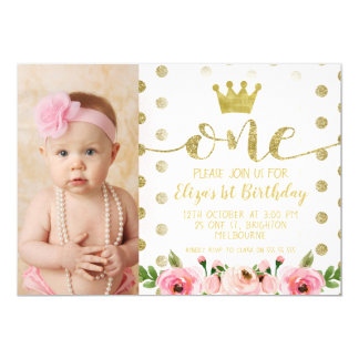 Princess Photo 1st Birthday Party Invitation