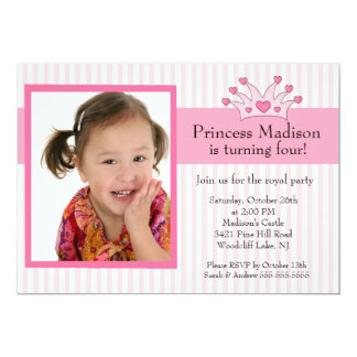 "Princess Photo Birthday Invitation 5"" X 7"" Invitation Card"