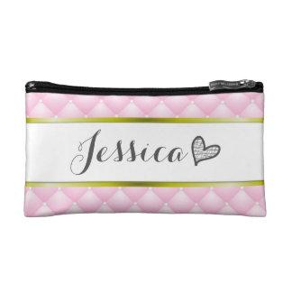 Princess Pink Cushion Monogram Name Makeup Bag