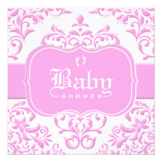 Princess Pink Floral Damask Custom Announcement