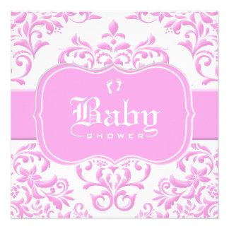 Princess Pink Floral Damask Custom Announcement