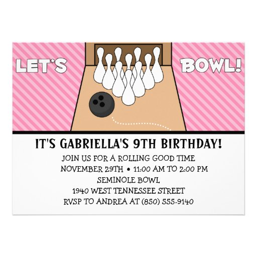 Princess Pink Let's Bowl Bowling Birthday Party Custom Invite