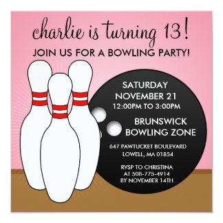 Princess Pink Let's Have a Ball Bowling Party 13 Cm X 13 Cm Square Invitation Card
